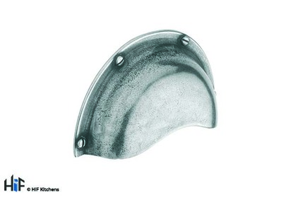 View H624.64.PE Barford Cup Handle Raw Pewter 64mm Hole Centre offered by HiF Kitchens