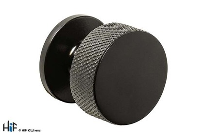 View K1117.32.MB Knurled Knob Handle Matt Black Central Hole Centre offered by HiF Kitchens