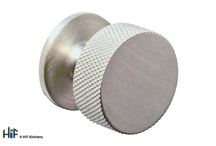 View K1117.32.SS Second Nature Knurled Cupboard Knob With Fixed Backplate offered by HiF Kitchens