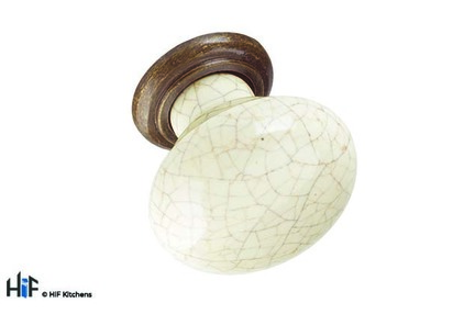 View K371.35.ABB Knob 35mm Antiqued Brass And Bone offered by HiF Kitchens