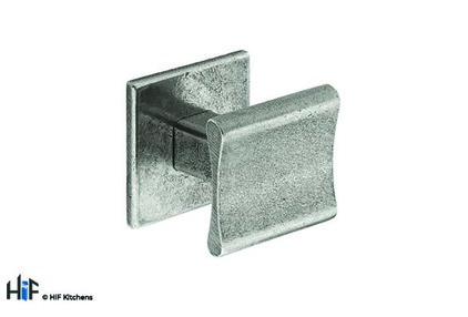 View K895.30.PE  Kitchen Knob Square 30mm C/W Backplate Pewter 1909 offered by HiF Kitchens