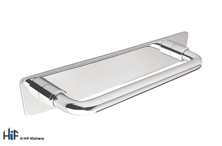 View H1080.128.CH Linton D Handle Polished Chrome 128mm Hole Centre offered by HiF Kitchens