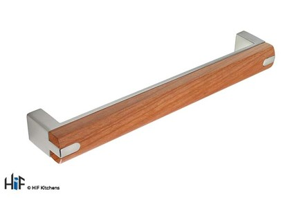 View H437.160.BSC D Handle Brushed 160mm Steel/Cherry offered by HiF Kitchens
