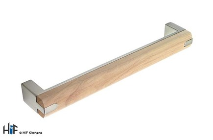 View H438.160.BSO D Handle Die-Cast 160mm Brushed Steel/Oak Combo offered by HiF Kitchens