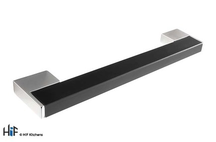 View H761.128.CHBR Kitchen Bar Handle 128mm Chrome Black offered by HiF Kitchens