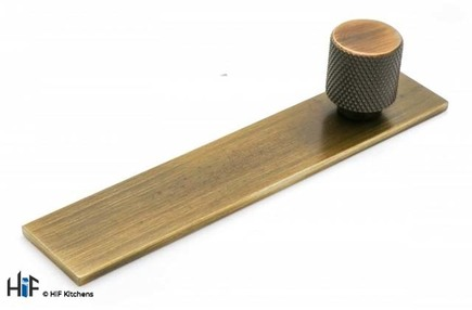 View K1111.20B384AGB Knurled Knob on Rectangular Backplate Second Nature offered by HiF Kitchens