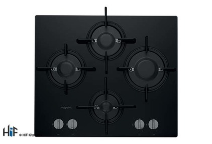 View Hotpoint FTGHG 641 D/H(BK) 60cm Gas On Glass Hob offered by HiF Kitchens