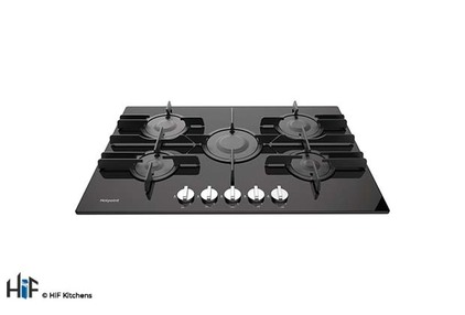 View Hotpoint FTGHG 751 D/H(BK) 75cm Gas On Glass Hob offered by HiF Kitchens