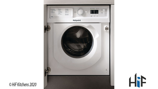 View Hotpoint BI WDHL 7128 UK Integrated Washer Dryer offered by HiF Kitchens